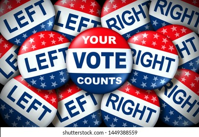 Your vote counts election badge as a United States democratic right for voting concept between the right and the left as a presidential vote or congress as a 3D illustration.