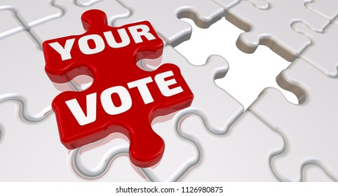 Your vote. The inscription on the missing element of the puzzle. Folded white puzzles elements and one red with text: YOUR VOTE. 3D Illustration