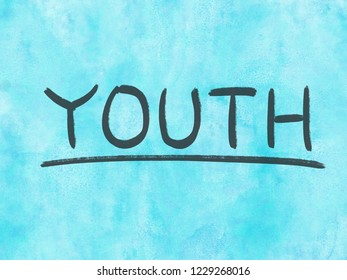youth concept word on watercolor texture background