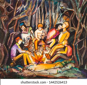 youth party on the elge of forest