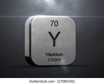 Ytterbium element from the periodic table. Metallic icon 3D rendered with nice lens flare