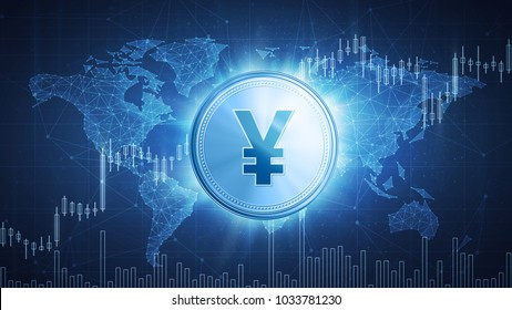 Yuan or yen coin on hud background with bull trading stock chart and polygon world map. Growth of the yuan in price on stock market, world economics, finance data and global currency concept.