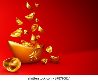 "Yuanbao - Chinese gold sycee on red background, Chinese calligraphy ""FU"" (Foreign text means Prosperity) - 3D Rendering"