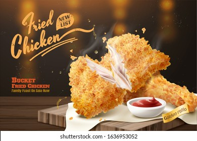 Yummy fired chicken ads with dip on wooden plate and bokeh background in 3d illustration