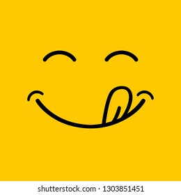 Yummy smile  cartoon line emoticon with tongue lick mouth. Delicious tasty food eating emoji face on yellow design background