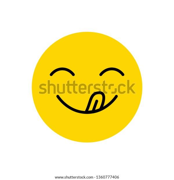 Yummy Smile Tongue Hungry Emoji Face Stock Illustration 1360777406