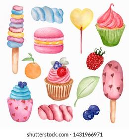 Yummy sweet food seamless pattern. Watercolor illustration Lollipops, cupcake, macaroon,berry, marshmallows,  ice cream and orange set. summer sweets set illustration.