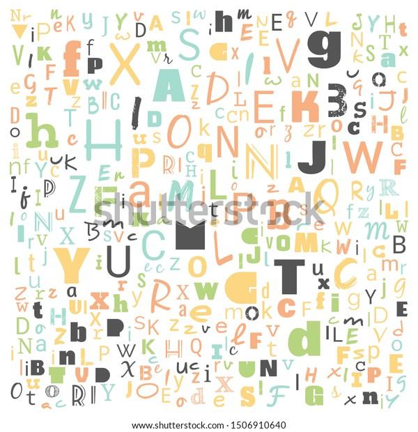 Z Word Cloud Multicolor Alphabet Word Stock Illustration