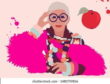 Zaandam, amsterdam-july 20 2019; illustration of Iris Apfel, fashion stylist