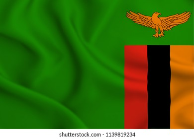 Zambia 3D waving flag illustration. Texture can be used as background.