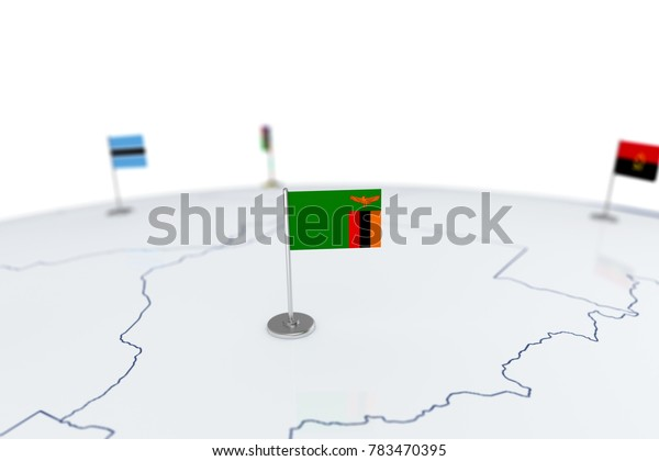 Zambia flag. Country flag with chrome flagpole on the world map with neighbors countries borders. 3d illustration rendering flag