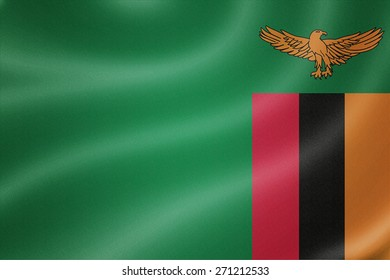 Zambia flag on the fabric texture background