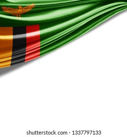 Zambia flag of silk with copyspace for your text or images and white background-3D illustration
