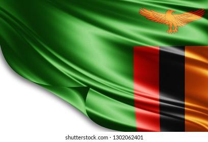 Zambia flag of silk-3D illustration