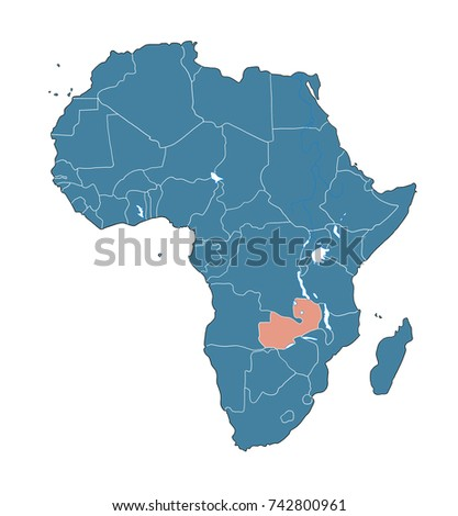 Zambia On African Map Stock Illustration Royalty Free Stock