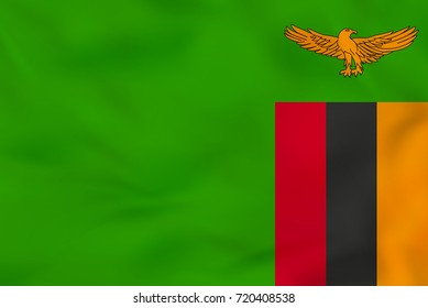 Zambia waving flag. Zambia national flag background texture. Raster copy.