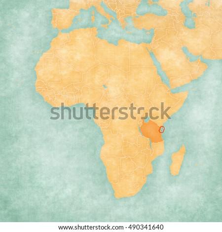 Tanzania On A Map Of Africa.Zanzibar Part Tanzania On Map Africa Stock Illustration Royalty