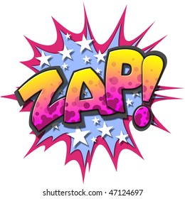 A Zap Comic Book Illustration Isolated on  White Background