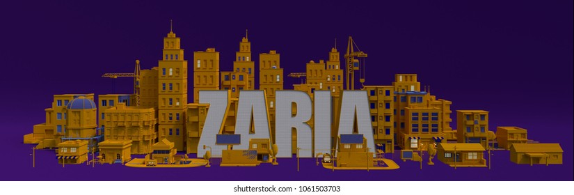 Zaria lettering name, illustration 3d rendering city with buildings