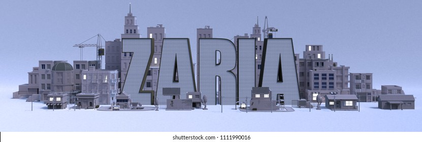 Zaria lettering name, illustration 3d rendering city with gray buildings