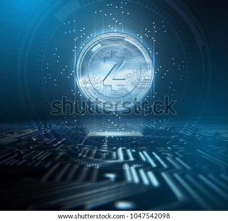 A zcash cryptocurrency hologram coin form hovvering over a computer circuit board overlaid with an analytical futuristic pattern - 3D render