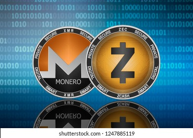 Zcash (ZEC) and Monero (XMR) coins on the binary code background; zcash vs monero