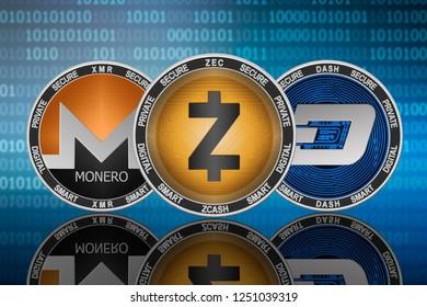 Zcash (ZEC), Monero (XMR) and DASH coins on the binary code background; zcash vs dash vs monero