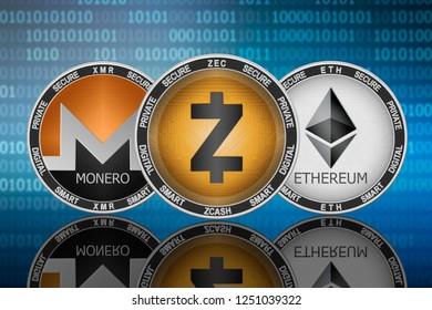 Zcash (ZEC), Monero (XMR) and Ethereum (ETH) coins on the binary code background; zcash vs monero vs ethereum