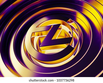 Zclassic crypto currency symbol in the center of the neon color circles. 3D illustration of Zclassic coin logo with metallic reflections on the purple background.