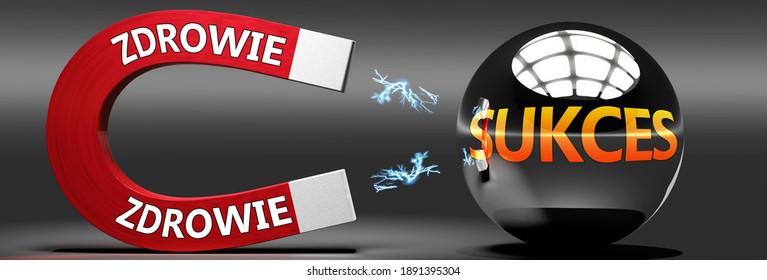 Zdrowie i sukces - Zdrowie prowadzi do sukcesu, przyciaga szczescie i powodzenie - abstrakcyjna idea i symbol przedstawiona jako magnes przyciagajacy metalowa kule, 3d illustration