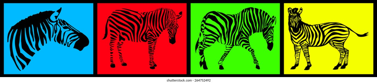 Zebra collection on colored background
