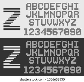 zebra font with horizontal stripes, retro style line alphabet