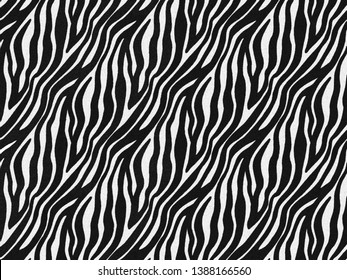 Zebra fur skin seamless pattern, carpet zebra hairy background, black and white texture, smooth, fluffly and soft, using brush photoshop to design the graphic. Animal skin print camouflage concept.