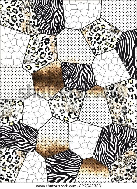 Zebra and leopard print.. Geometric background..
