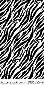 Zebra Stripes Seamless Pattern. Zebra print, animal skin, tiger stripes, abstract pattern, line background, fabric. Amazing hand drawn vector illustration. Poster, texture, Black and white artwork