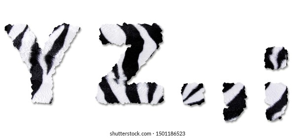 Zebra Textured Letters High Detailed 3D Render Quality Alphabet Set Hairy Furry