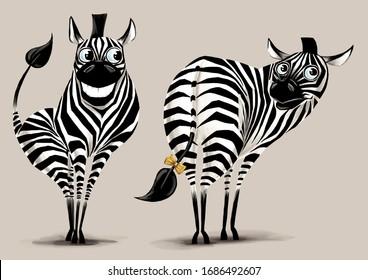 Zebras in love. Flirting. Digital illustration, cartoon