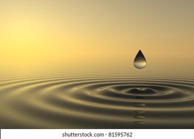 Zen-Tropfen fällt mit Sonnenuntergang auf Hintergrund ins Wasser
