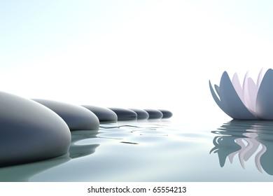 Zen-Blume auf weißem Hintergrund