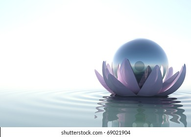 Zen flower loto with sphere in water on white background