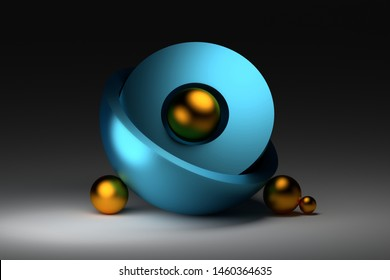Zen harmonious simple composition with two halves of blue shiny sphere with golden decorative balls. 3d illustration.