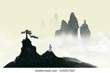 Zen, ink painting, Chinese painting