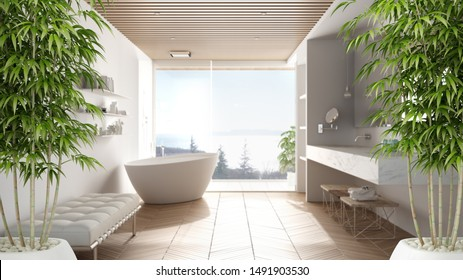 Zen interior with potted bamboo plant, natural interior design concept, minimalist luxury bathroom with bathtub, shower and window, contemporary modern architecture concept idea, 3d illustration
