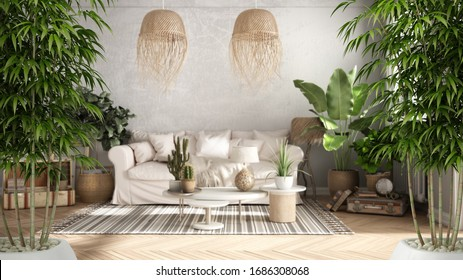 Zen interior with potted bamboo plant, natural interior design concept, old style living room in beige tone, Sofa, carpet, pillows, tables with decors and plants, architecture concept, 3d illustration