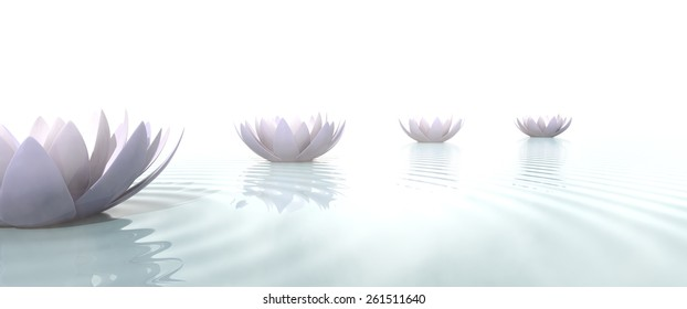 Zen path drawed with lotus flowers on the water