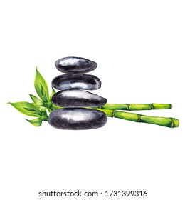 Zen spa pebbles and bamboo. Relax and meditation symbol. Smooth flat black stones with green stems and shoots. Watercolor hand painted isolated elements on white background.