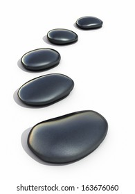 Zen stones black (isolated on white and clipping path)