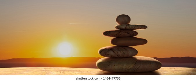 Zen stones stack against sunset nature background.  Harmony, balance concept, banner. 3d illustration