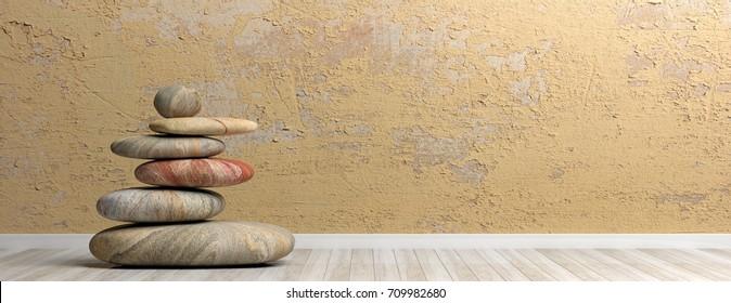 Zen stones stack on wooden floor. 3d illustration