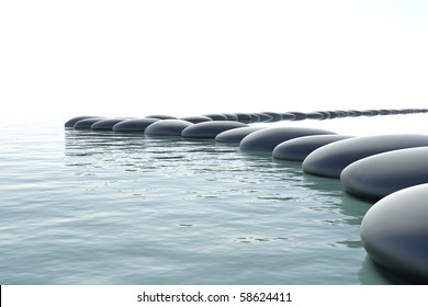 Zen stones in a zen turbulent water